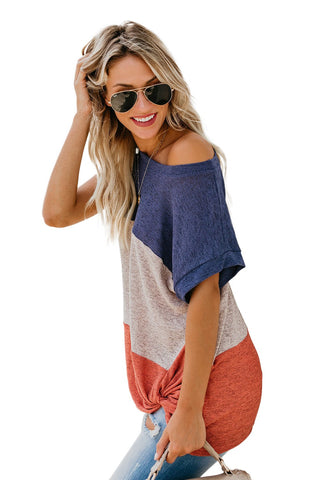 Jaxon Color Block Twist Tee Top