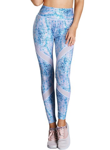 Image of Blue Scrawl Print Women High Waist Sport Leggings
