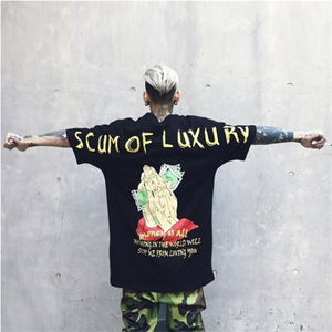 Scum of Luxury Money is All Praying hands Printed Hip Hop T-shirt Loose Tee