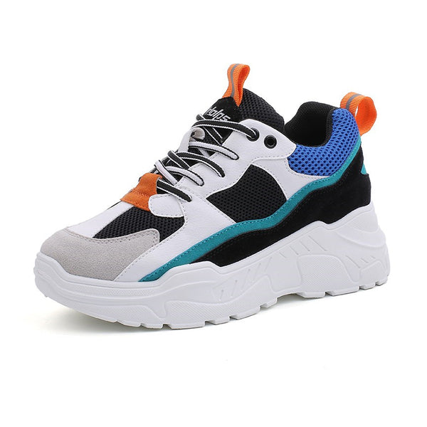 Fashion casual ladies breathable mesh platform sports shoes