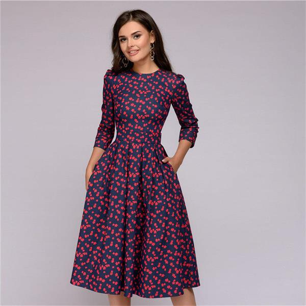Casual Printing Elegant Ladies Vintage Dresses