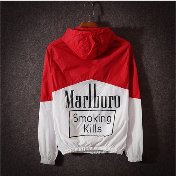 Men's Fashion Clothing Smoking Kills Printed Summer Thin Jacket Hooded Hip Hop