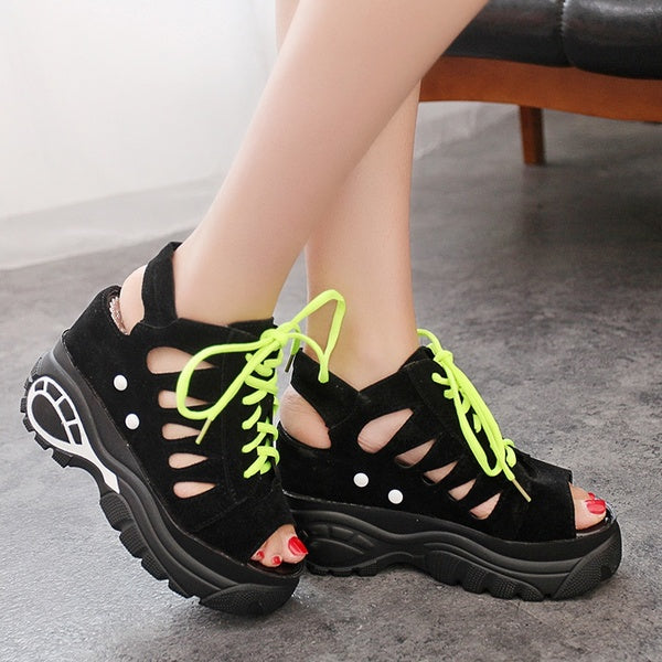 Women's wedge waterproof platform casual breathable fish mouth shoes