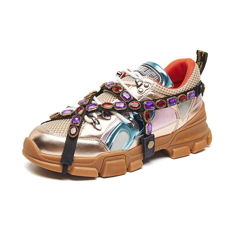 Luxury Crystal Women's Lace-up Color Platform Sneakers