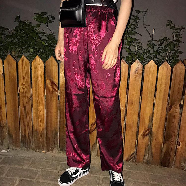 Chinese Style Dragon Embroidery Vintage Trouser