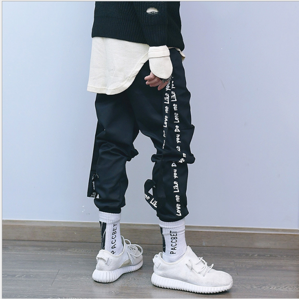 New Streetwear Fashion casual Removable ribbon pants Men Brand Street style Hip Hop Pants Trousers