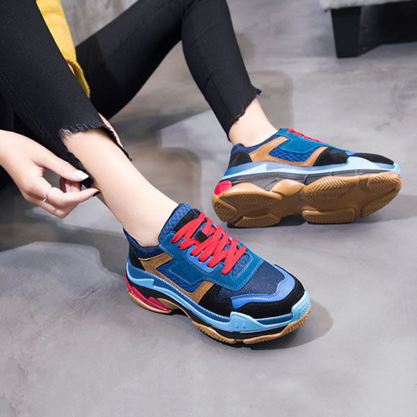 Leather mesh thick platform flat bottom ladies dad shoes sneakers