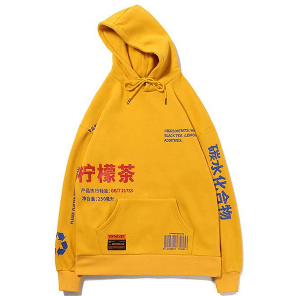 Lemon Tea Printed Fleece Pullover Hoodies Men/Women Casual Hooded Streetwear
