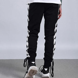 Cross Lace Up Side Stripes Jogger Pants