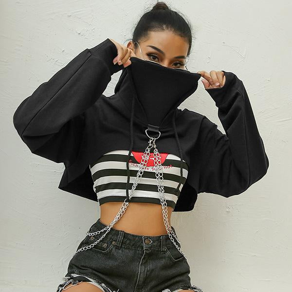 Patchwork Chain Black Cropped Hoodies