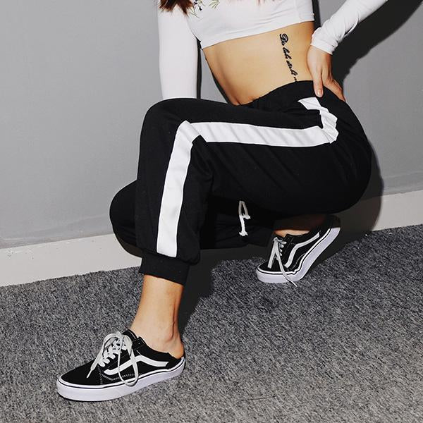 High Waist Striped Patchwork Front Bandage Sweatpants