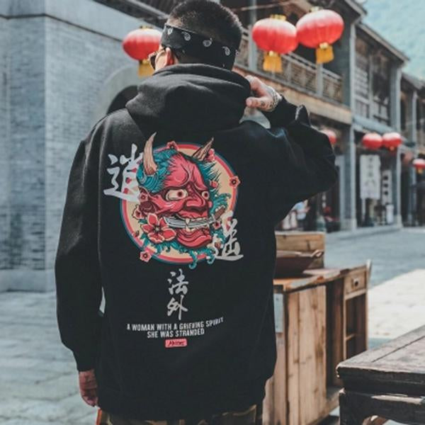 Japanese Ghost Print Streetwear Fleece Hoodies