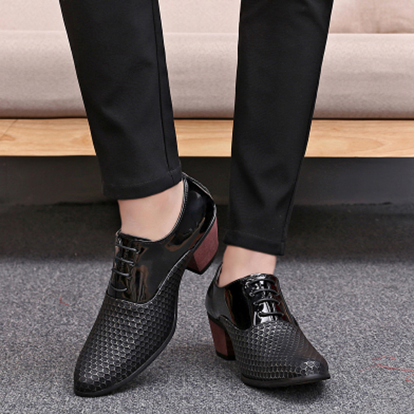Honeycomb Pattern Formal Leather Shoes Men High Heels Dress Derby Shoes Business Casual Shoes
