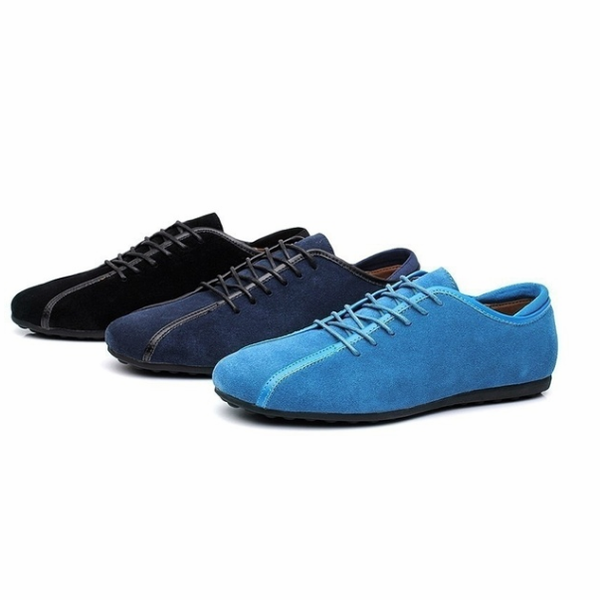 Men Flat Shoes Suede Genuine Leather Low Top Lace-Up Rubber Sole Shoes