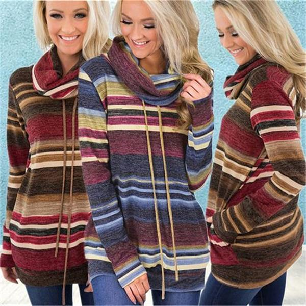 Stylish Heaps Collar Pullover Striped Jumper Long Sleeve Sweatshirt Hoodies