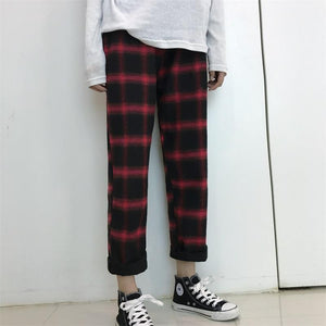 Plaid Pants Casual Drawstring Straight Pants