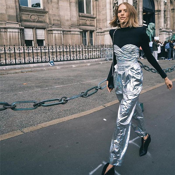 Bright Silver Wrapped Chest Sleeveless Jumpsuit Pants