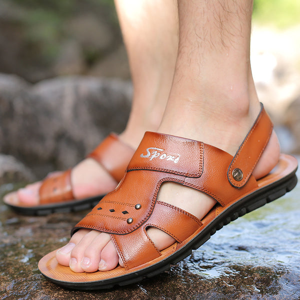 Summer large size men's British fashion leather beach sandals