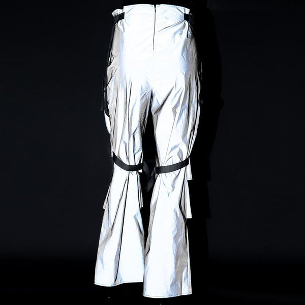Hole Buckle Reflective Pants