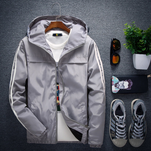Men's Hooded Print Long Sleeve Solar Zipper Slim Jacket