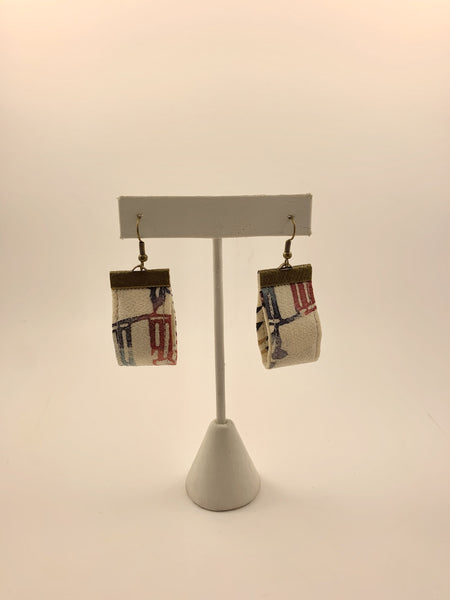 a one of a kind pair of handmade Japanese kimono earrings by Cultural Detour