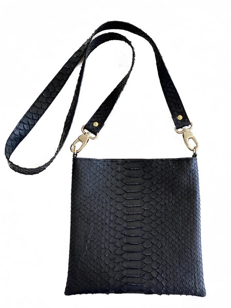 Zip Slim Pouch in Black Python - ineffably