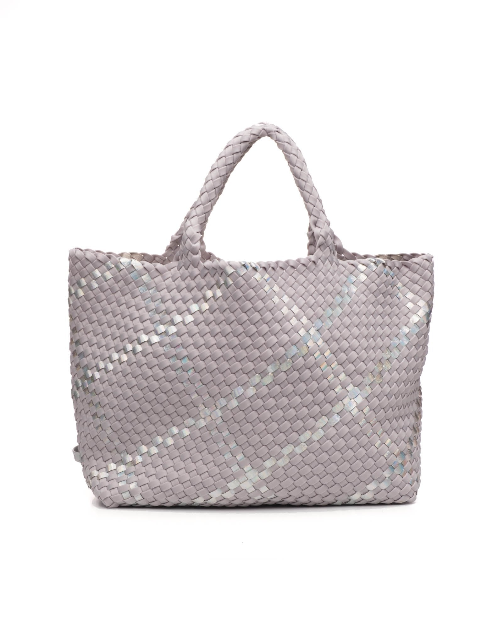 a gray neoprene basket weave tote by Naghedi called Oyster