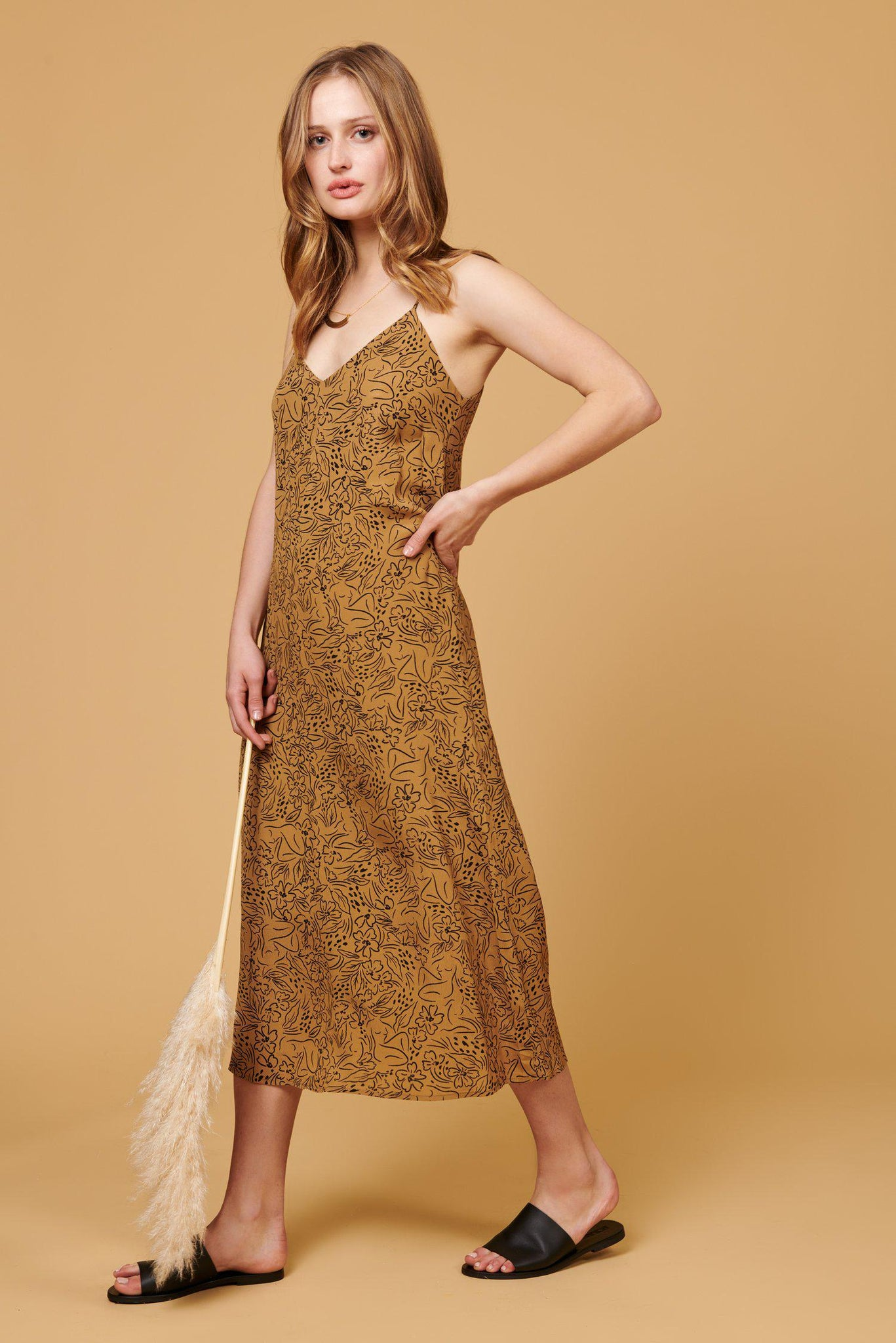 Jade Dress in Tan Lady Print - ineffably