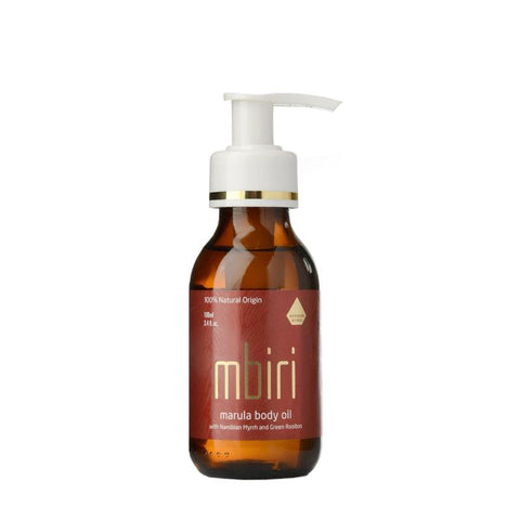a bottle of Mbriri Namibian Myrrh Body Oil