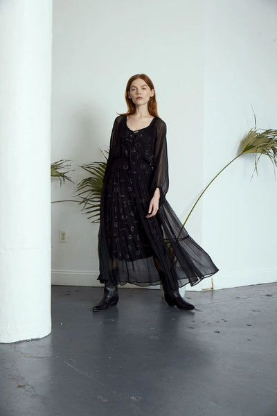 Frida Gathered Dress in Black - ineffably