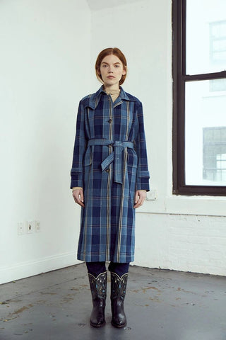 Grass Roots Trench Coat in Royal - ineffably