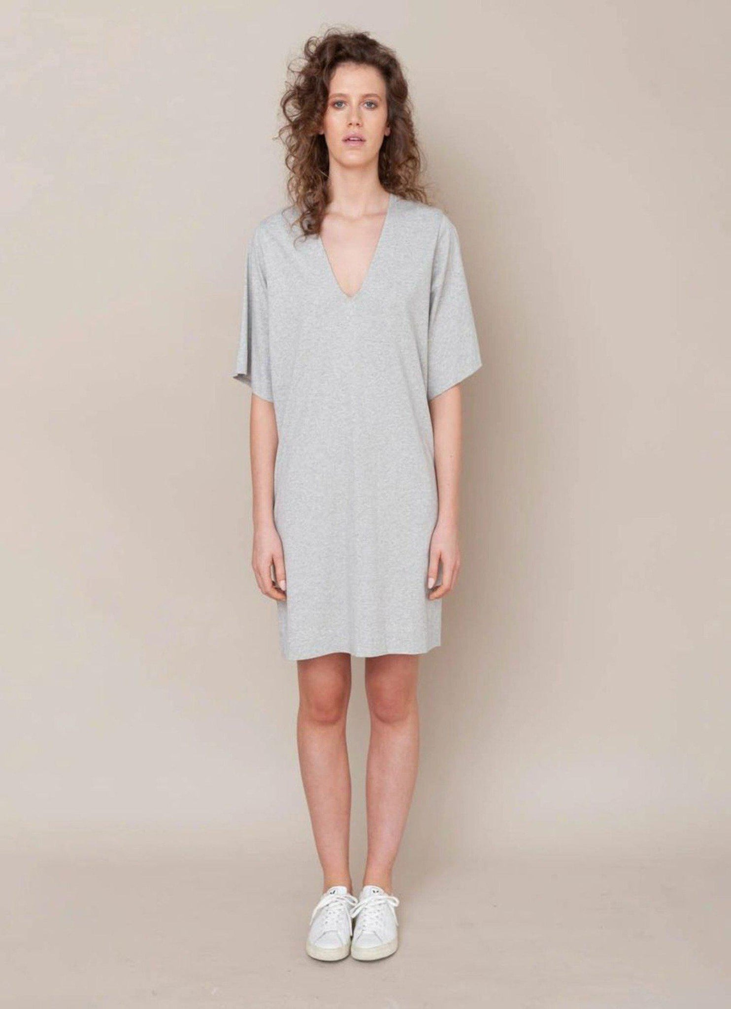 Sasha Organic Cotton Dress In Light Grey Marl - ineffably