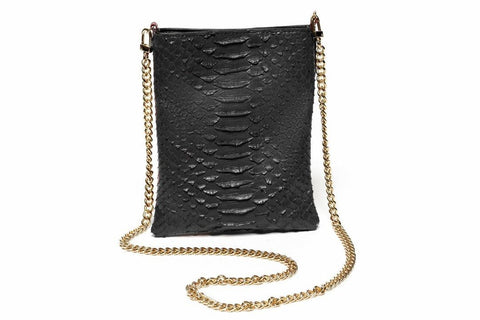Slim Pouch in Black Python - ineffably