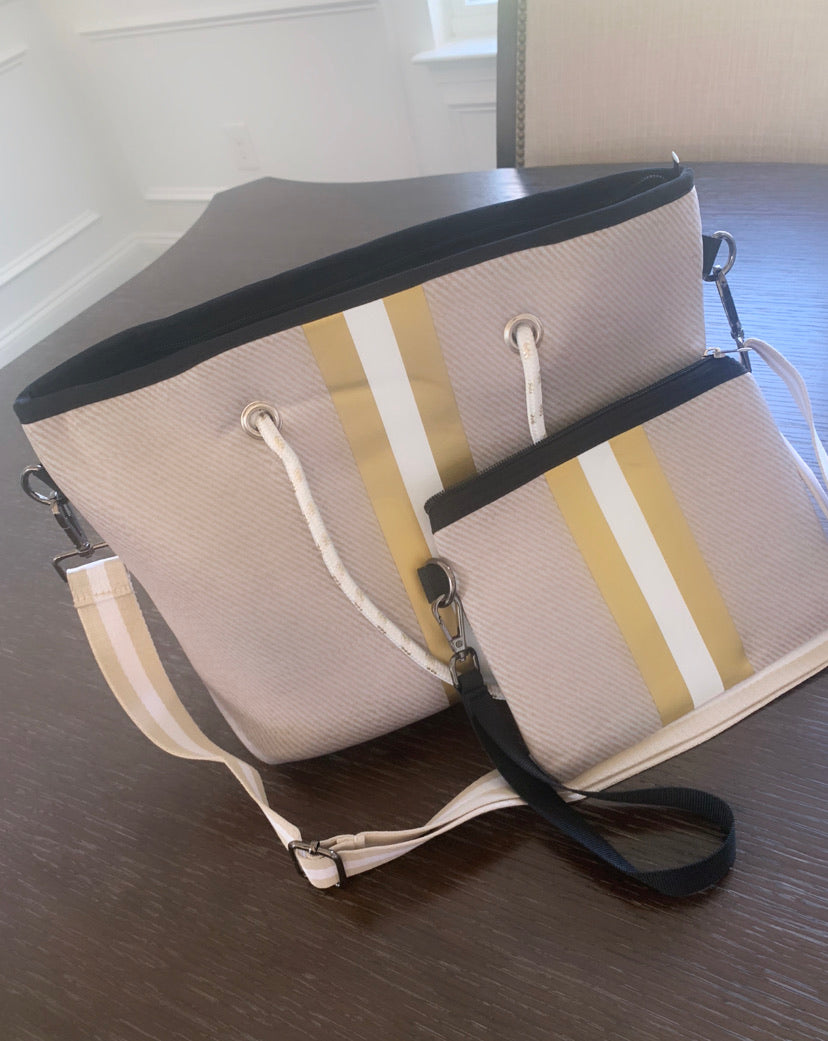 Gold Stripe Medium Size Tote
