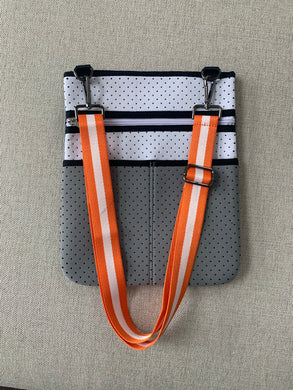 Gray and White Crossbody Bag