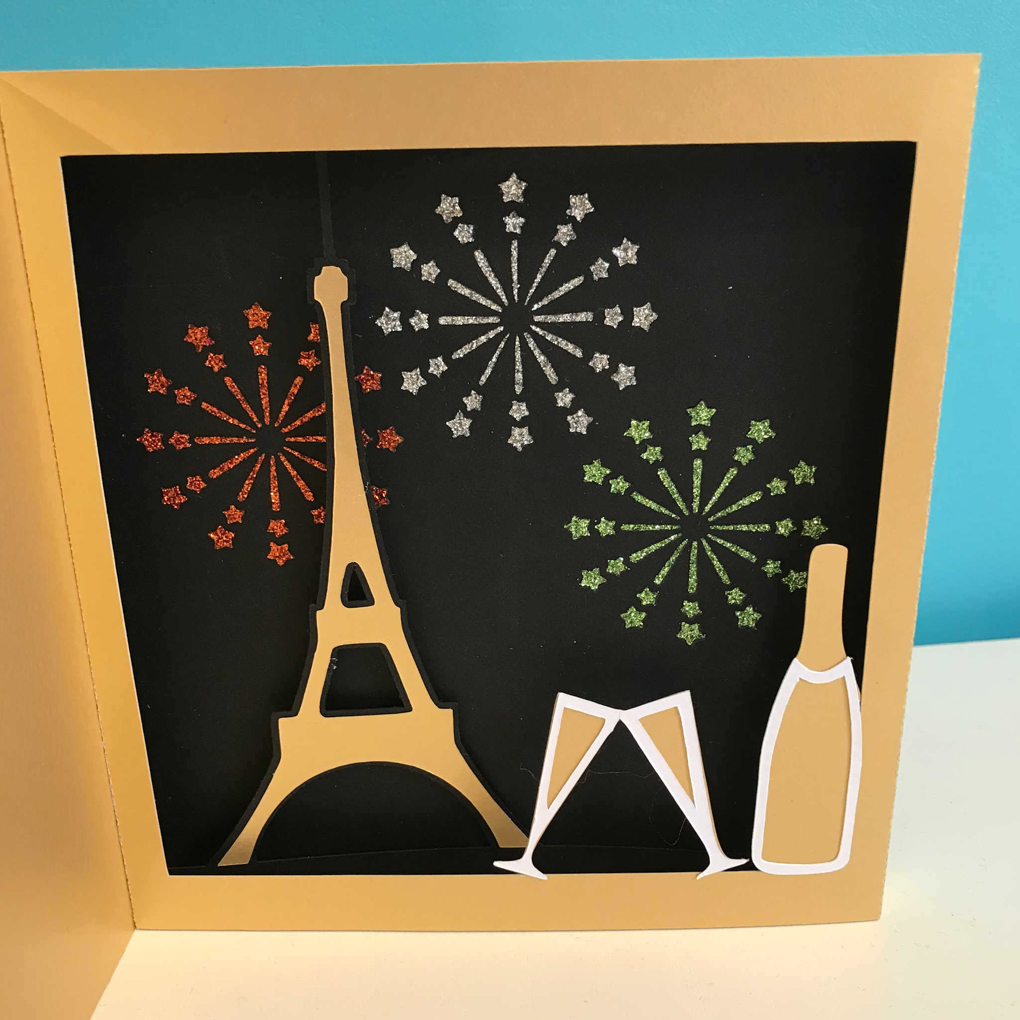 "Carte tableau ""Feu d'artifice à Paris"""
