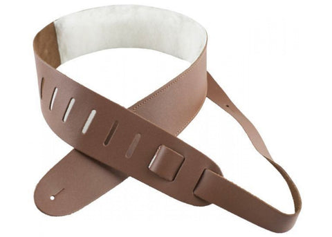 "Perri's Leathers 2.5"" Tan Leather Guitar Strap with Sheepskin Pad Model # DL325-2212"