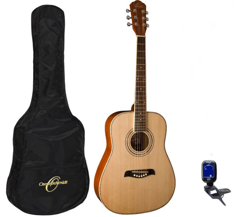 Oscar Schmidt OG1PAK 3/4-Size Acoustic Guitar with Gig Bag, Tuner, Picks - Natural