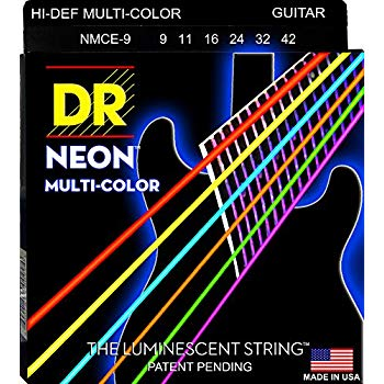 DR Strings NMCE-9 Electric Guitar Neon Multi-Color Coated, .009 - .042