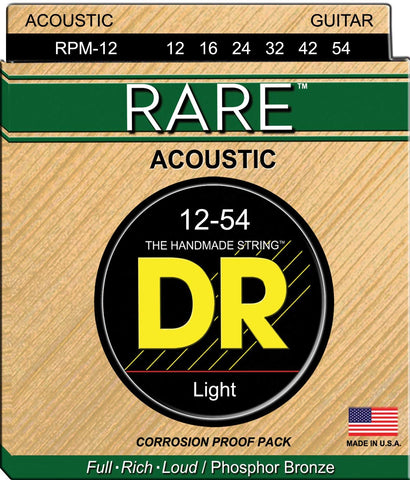 DR Strings RPM-12 RARE Phosphor-Bronze Acoustic Guitar Light 12-54