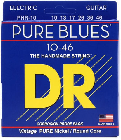 DR Strings Pure Blues Pure Nickel Wrap Round Core 10-46, PHR10