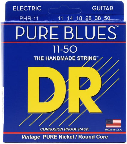 DR Strings PHR-11 Pure Blues Pure Nickel Electic Guitar Strings -.011-.050 Heavy