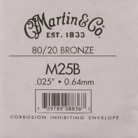 Martin M25B 80/20 Bronze Wound Guitar String - .025