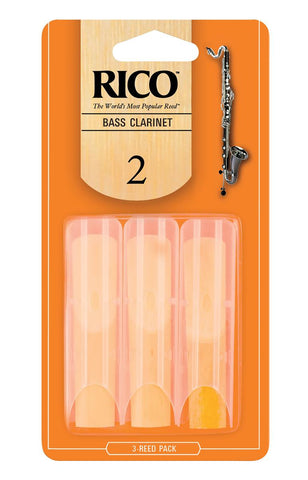 Rico by D'Addario Bass Clarinet Reeds, Strength 2, 3 Pack REA0320