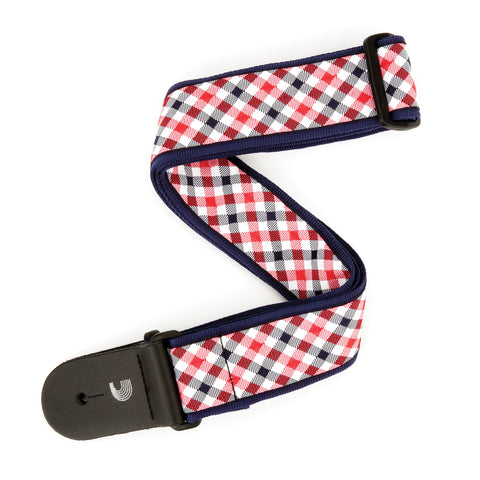 D'Addario 50 MM Gingham Woven Guitar Strap, Red and Navy, T20S1500