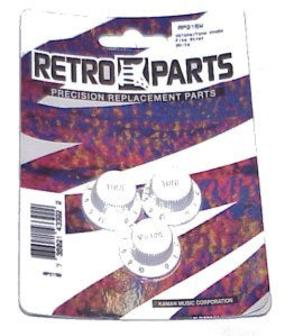Retro Parts RP215W Strat Volume & Tone Knob Set White