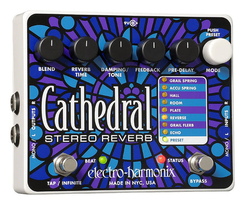 Electro-Harmonix Cathedral Deluxe Reverb Pedal with Power Supply