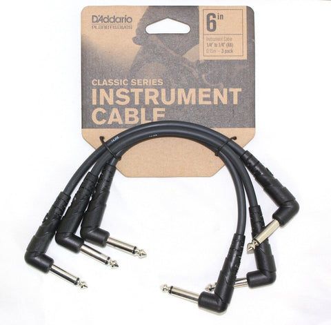 D'Addario Classic Series Patch Cable, 3-pack, 6 inches PW-CGTP-305