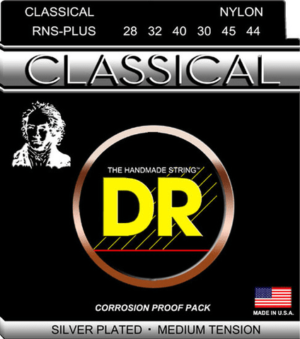 DR Strings Nylon Classical Guitar Strings RNS-PLUS Medium Tension