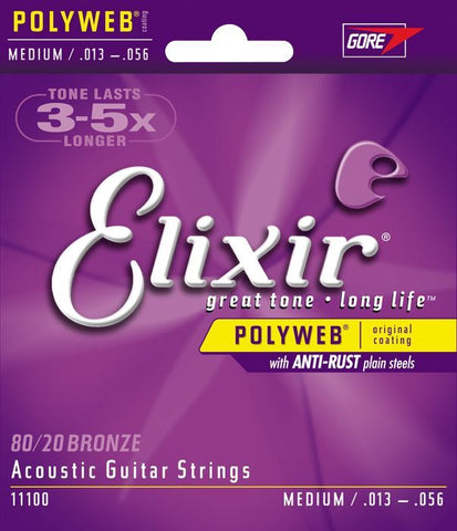 Elixir Medium Polyweb Acoustic Guitar Strings